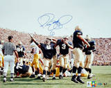 Jerome Bettis vs. Michigan Arms In Air Autographed Photo (Hand Signed Collectable) Photo