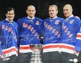New York Rangers Brian Leetch, Mike Richter, Adam Graves, & Mark Messier Signed w/ Inscriptions Photo