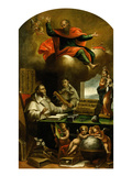 Apparition of Saint Paul to Saint Albert the Great and Saint Thomas Aquinas Giclee Print by Alonso Antonio Villamor