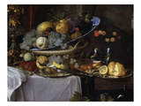 Fruits and Rich Dishes on a Table, 1640, Detail Giclee Print by Jan Davidsz. de Heem