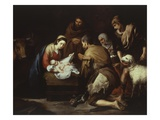 The Adoration of the Shepherds, 1645-50, 17X228Cm Giclee Print by Bartolome Esteban Murillo