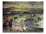 Hunting Near Castello Di Malpaga, Bergamo, Italy, Fresco Giclee Print by Marcello Fogolino