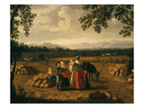 Harvest at Carditello, Near Naples, Italy Giclee Print by Philip Hackert