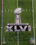 "Steve Weatherford SB XLVI Logo Vertical w/ ""Field Position Baby"" Insc. Photo"