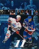 "Mark Messier Oilers and Rangers Hall of Fame Collage w/ ""HOF"" Insc. Photo"
