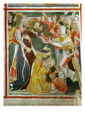 The Kiss of Judas, 15th Century Fresco, &quot;The Poor Man&#39;s Bible&quot;, Church of the Trinity, Piedmont Giclee Print by Francesco &amp; Sperindio Cagnola