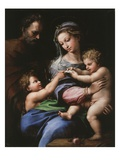 Virgin of the Rose, Madonna and Child with Joseph and John the Baptist, 1518 Reproduction procédé giclée par  Raphael