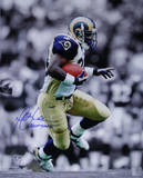 Marshall Faulk Rams Rushing Black/White Background Vertical w/ &quot;HOF 20XI&quot; Insc. Photo