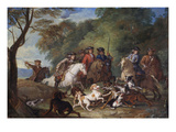 Wolf Hunting, Oil Sketch, C.1720-23 Giclee Print by Fran&#231;ois Desportes