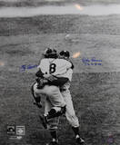 Don Larsen/Yogi Berra Dual Signed Hug Close Up Vertical B&W w/ PG Insc. by Larsen Photo
