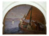 Jesus Walking on Water, Fresco, Church of St Francois De Sales, Paris, 1917 Giclee Print by Frederic Montenard