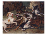 Wolf Attacked by Hounds, Wolf Hunting, Oil Sketch, C.1720-23 Giclee Print by François Desportes