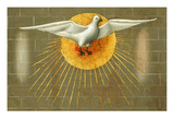 Holy Spirit Symbolised as a Dove Within Solar Star, Pentecost, Paint on Wood, C. 1450 Giclee Print by  Master of Budapest