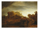 Landscape with Castle, Imaginary View, C.1640-42 Premium Giclee Print by  Rembrandt van Rijn