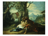 The Good Samaritan - Samaritan Helping Wounded Robbed Man Giclee Print by Domenico Fontebasso