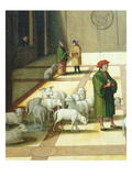 Flock of Sheep, David and Nathaniel Meeting in Jerusalem, from the History of David Giclee Print by Hans Sebald Beham