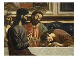 Fresco C.1444-50 Last Supper Detail of Jesus Judas and John Asleep Giclee Print by Andrea Del Castagno