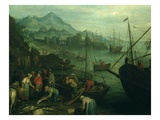 Port and Fishermen Giclee Print by Jan Frans Beschey