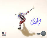 Chris Drury Rangers White Jersey Slap Shot Overhead Autographed Photo (Hand Signed Collectable) Photo