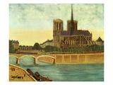 Notre-Dame; Vue De L'Apside (Cathedral of Notre Dame, Paris, France, View of Apse), 1933 Giclée-Druck von Louis Vivin