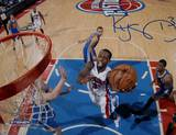 Rodney Stuckey Detroit Pistons at the Basket in White Jersey Signed Photo