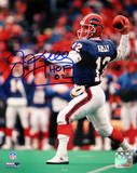Jim Kelly Signed Throwing w/ HOF Insc Photo