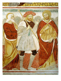 The Road to Emmaus, 15th Century Fresco, &quot;The Poor Man&#39;s Bible&quot;, Church of the Trinity, Piedmont Giclee Print by Francesco &amp; Sperindio Cagnola