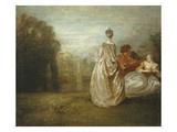 Les Deux Cousines, the Two Cousins, C.1716 Giclée-tryk af Jean-Antoine Watteau
