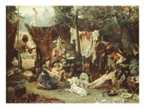 Behind the Curtain, Circus Entertainers Resting Between Acts, 1880 Reproduction proc&#233;d&#233; gicl&#233;e par Ludwig Knaus