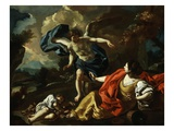 Hagar, Concubine of Abraham, and Son Ishmael in Desert Comforted by Angel Giclée-tryk af Francesco Solimena
