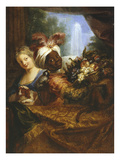 Young Black Man Holding Basket of Fruits, Young Woman Stroking Her Dog, C.1682 Giclee Print by Antoine Coypel
