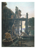 Lakeside Village in the Stone Age, Undated Giclee Print by Hippolyte Coutau