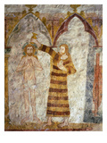 Baptism of Christ by Saint John the Baptist, Gothic Mural Painting, 15th Century Giclee Print