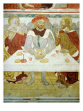 The Meal at Emmaus, 15th Century Fresco, &quot;The Poor Man&#39;s Bible&quot;, Church of the Trinity, Piedmont Giclee Print by Francesco &amp; Sperindio Cagnola