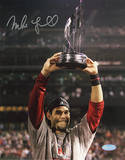 Mike Lowell with 07 WS MVP Trophy Autographed Photo (Hand Signed Collectable) Photo