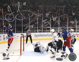 Jaromir Jagr / Scott Gomez Dual Signed Celebrating Goal vs Lightning Photo