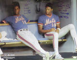 Dwight Gooden In Mets Dugout With Darryl Strawberry Autographed Photo (H& Signed Collectable) Photo
