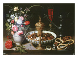 Table with Pitcher and Dish of Dried Fruit, 1611 Giclee Print by Clara Peeters