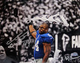 Ahmad Bradshaw Waving Towel Horizontal B&amp;W with Color Accents Photo