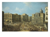 Carnival in Naples, Italy, Showing St Ferdinand Square and the Royal Procession Giclee Print by Antonio Joli