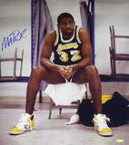 Magic Johnson Sitting on Chair Lakers Purple Jersey Vertical Photo