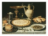 Still Life with Bread, Pastry, Chicken and Olives Giclee Print by Clara Peeters