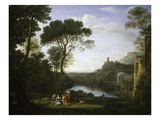 Landscape with the Nymph Egeria Premium Giclee Print by Claude Lorrain