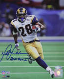 Marshall Faulk Rams Rushing Head On White Jersey Vertical w/ &quot;HOF 20XI&quot; Insc. Photo