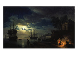 Night Sea Port in Moon Light 1771 Giclée-Druck von Claude Joseph Vernet