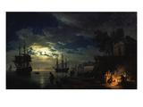 Night Sea Port in Moon Light 1771 Giclée-Druck von Claude Joseph Vernet