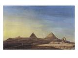 Pyramids of Memphis, Napoleon's Egyptian Campaign 1798, Gouache Giclee Print by Charles-Louis Balzac