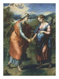 The Visitation, Pregnant Virgin Mary Greets Sister Elizabeth, Mother of John the Baptist, 1519 Reproduction procédé giclée par Raphael