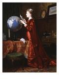 Very Very Far Away - Girl Studying Globe Giclee Print by Wilhelm Hamberg