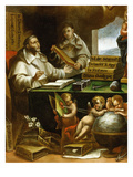 Saint Albert Writing, Apparition of Saint Paul to Saint Albert the Great and Saint Thomas Aquinas Giclee Print by Alonso Antonio Villamor